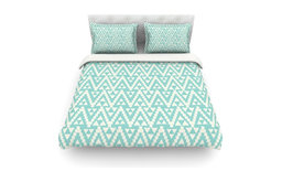 "Amanda Lane ""Geo Tribal Turquoise Sky"" Teal Aztec Duvet Cover, Woven, King"