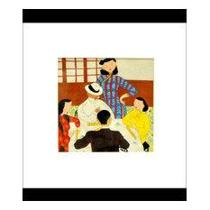 "Shanghai Lady Playing MahJong Painting, 11""x11"""