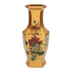 "14"" Gold Hexagonal Vase"