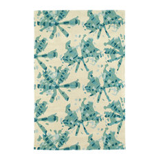 Kaleen Hand Tufted Pastiche Wool Rug, Turquoise, 8'x10'