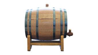 Large Handcrafted American White Oak Barrel, Medium Char, 10-Liter