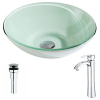 ANZZI Sonata Series Deco-Glass Vessel Sink with Harmony Faucet, Polished Chrome