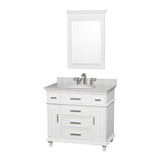 "Berkeley 36"" Bathroom Vanity, White, 24"" Mirror, White Carrera Marble Top"