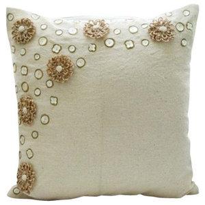Ecru Jute Flowers Cushion Cover, Cotton Blend 45x45 Cushion Cover, Jute Flowers