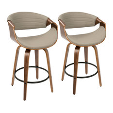 Symphony Mid-Century Modern Counter Stool, Set of 2, Gray