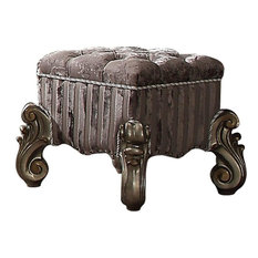 Traditional Style Wood and Poly Resin Vanity Stool, Gray