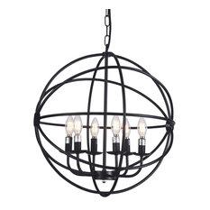 Round iron chandeliers houzz raekor raekor 20 modern round sphere black iron wire frame hanging chandelier light aloadofball Images