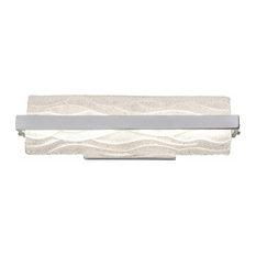 """Waveform 19"""" LED Bath Fixture, Polished Chrome With Handmade Wave Ice Glass"""