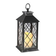 Cage Lantern With LED Candle, Antique Black