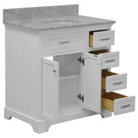 "Aria Bathroom Vanity, Base: White, 36"", Top: Carrara Marble"