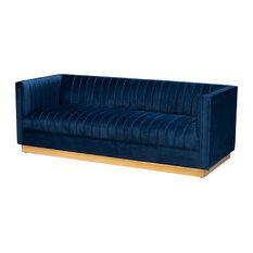 Crispian Glam and Luxe Navy Blue Velvet Fabric Brushed Gold Sofa