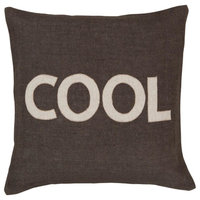 """Surya Stencil ST-005 Novelty Pillow, Square 22""""x22"""" Cover With Down Insert"""