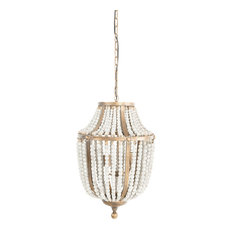 Metal Chandelier With Wood Beads, Gold
