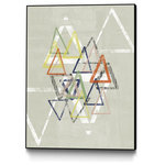 "Giant Art - ""Stamped Triangles II"" CF Print, 18""x24"" - Your ready-to-hang artwork is printed on canvas then stretched and mounted to a 2 inch-thick, hand-stained black wood frame. Arrives at your door complete with an easy-to-use self-leveling hanging kit."
