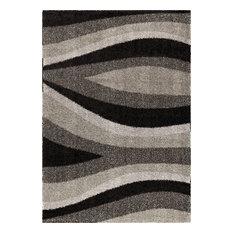 "Orian Rugs Majestic Shag Waves Flume Area Rug, Black,  7'10""x10'10"""