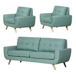 Irene 3 Piece Linen Sofa And 2 Chairs Set Midcentury