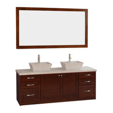 "Design Element DEC310 Madeline 72"" Double Sink Vanity Set, Cherry"