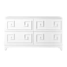 Worlds Away - 4 Drawer White Lacquer Dresser - Dressers