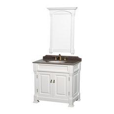 36-inch Single VanityWhiteImperial Brown Granite TopOval Sink28-inch Mirror