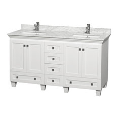 "60"" Acclaim Double Vanity With White Carrera Marble Top, Square Sink, No Mirror"
