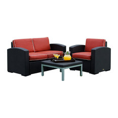 Patio Love/Chair Group, Loveseat, One Chair and Table, Brown, Cajun Red Cushion