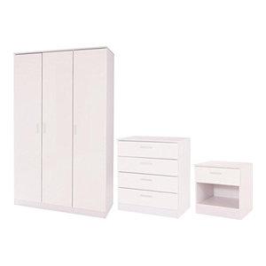3-Piece Bedroom Furniture Set, 3-Door Wardrobe, 4-Drawer Chest and Bedside, Whit