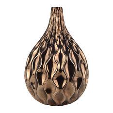 """Modern Wave Vase, Gold, D8.5x12"""""""