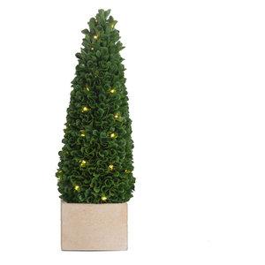 """5""""x15.5"""" Pre-Lit Faux Boxwood Cone Topiary, Small"""