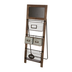 "43.31"" Farmhouse Metal/Wooden Magazine Rack"