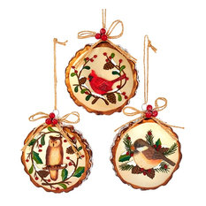 kurt s adler inc woodland birds owl cardinal chickadee christmas holiday ornaments - Rustic Christmas Ornaments