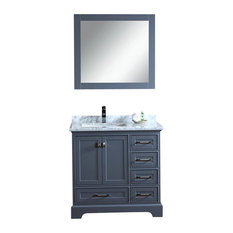 Stufurhome   Stufurhome Newport Gray 36 Inch Single Sink Bathroom Vanity  With Mirror   Bathroom Vanities
