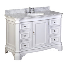 "Katherine Bath Vanity, Base: White, 48"", Top: Carrara Marble"