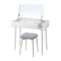 Dressing Table Set With Large Flip Top Mirror, Cushioned Stool and Compartments