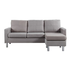 Divano Roma Furniture   Modern Reversible Small Microfiber Sectional   Sectional  Sofas