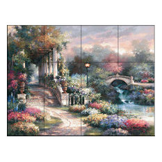 Tile Mural Jl - Classic Garden Retreat, 43.2x32.4 cm