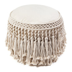 Anji Mountain Macrame Round With Tels Pouf Floor Pillows And Poufs