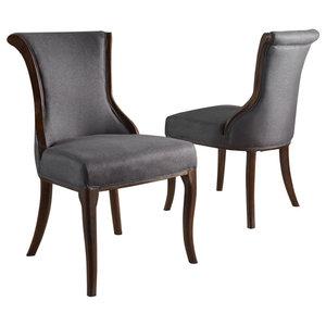 GDF Studio Lexia Plush Classic Fabric Dining Chair, Dark Charcoal