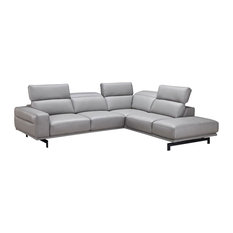 JNM Furniture - Davenport Premium Leather Sectional Sofa, Light Gray, Right Hand Facing Chaise - Sectional Sofas