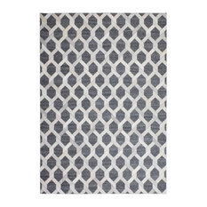 Chimera Leather and Viscose Rug, Grey, 80x150 Cm