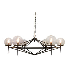 Powder Coated Chandelier With Glass Globes, Black
