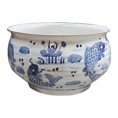 Titus Modern Classic Blue and White Koi Fish Round Orchid Porcelain Bowl