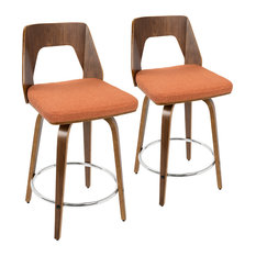LumiSource Trilogy Counter Stool, Walnut and Orange, Set of 2