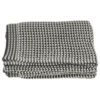 CBK Cotton Grey And Cream Houndstooth Knit Throw 145245