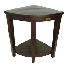 "Oasis Teak Corner Shower Stool, Table With Shelf, 16""x23"""
