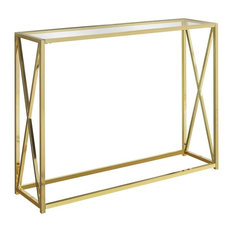 Accent Table in Gold and Clear Finish