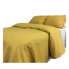 Mustard Duvet Cover, Washed Natural Linen, Full/Queen Duvet Cover Only