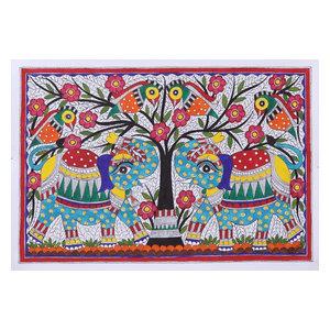 Novica Elephant Salutation Madhubani Painting