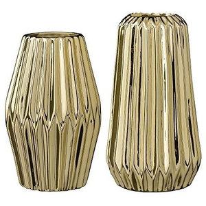 Bloomingville Vases Fluted Gold Porcelain, Set of 2