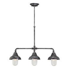 Nuvo Sutton 3-Light Industrial Iron Chandelier/Island Light