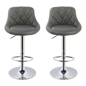 Claire Faux Leather Adjustable Swivel Bar Stools, Set of 2, Gray